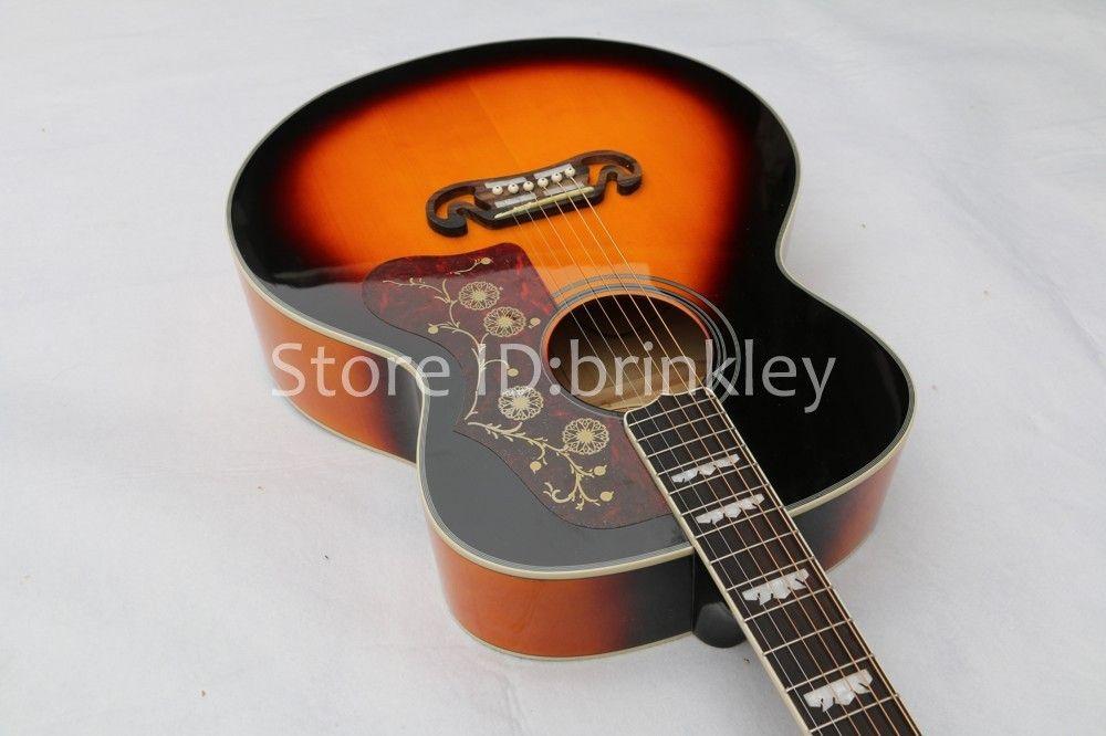 Brinkley новое прибытие пламя клен твердые топ sunburst акустическая гитара с fishman J200 электрогитара, Бесплатная доставка