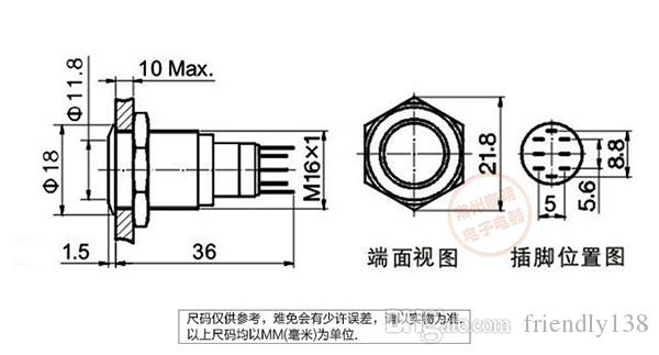 YJ-GQ16F-11EZ LED Metallo Interruttore di Pulsante 304 In Acciaio Inox 1NO 1NC 16mm Dia 220 V Self Locking o Self Reset Momentaneo Impermeabile