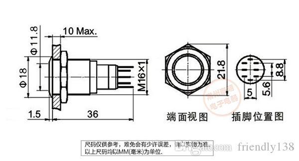 YJ-GQ16F-11EZ LEVOU Interruptor De Botão De Metal 304 Aço Inoxidável 1NO 1NC 16mm Diâmetro 220 V Auto Bloqueio ou Auto Reset Momentary À Prova D 'Água