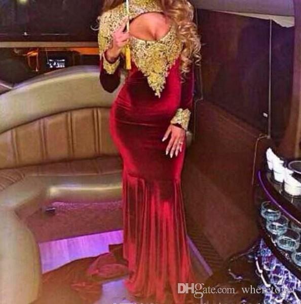 인어 댄스 파티 드레스 긴 소매 높은 목 골드 레이스 아플리케 벨벳 파티 드레스 저녁 착용 열기로 돌아 가기 플러스 사이즈