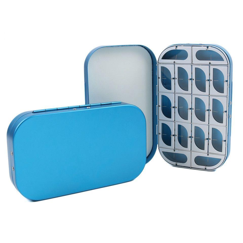 Pequenas Caixas De Pesca Com Mosca De Alumínio 16 Compartimentos Tamanho Portátil 155 * 90 * 25mm Moscas Ganchos Caixa De Armazenamento Fácil Aberto-Azul
