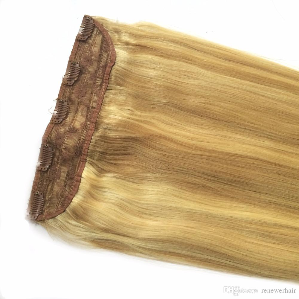 16 18 20 22 24 80g Quad Weft One Piece Clip In Hair Extensions Ash