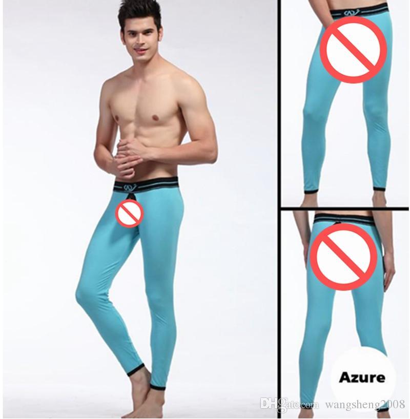 WJ Thermique Mens Coton Sain Long Trou Retour Pantalon Chaud Thermique Sous-Vêtements Sexy Pantalon Wangjiang Long Johns Ouvert Crotch Pantalon