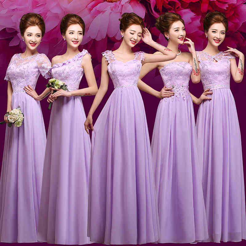 Compre Púrpura Del Cordón De La Blusa De Gasa Largo Vestido De Dama ...