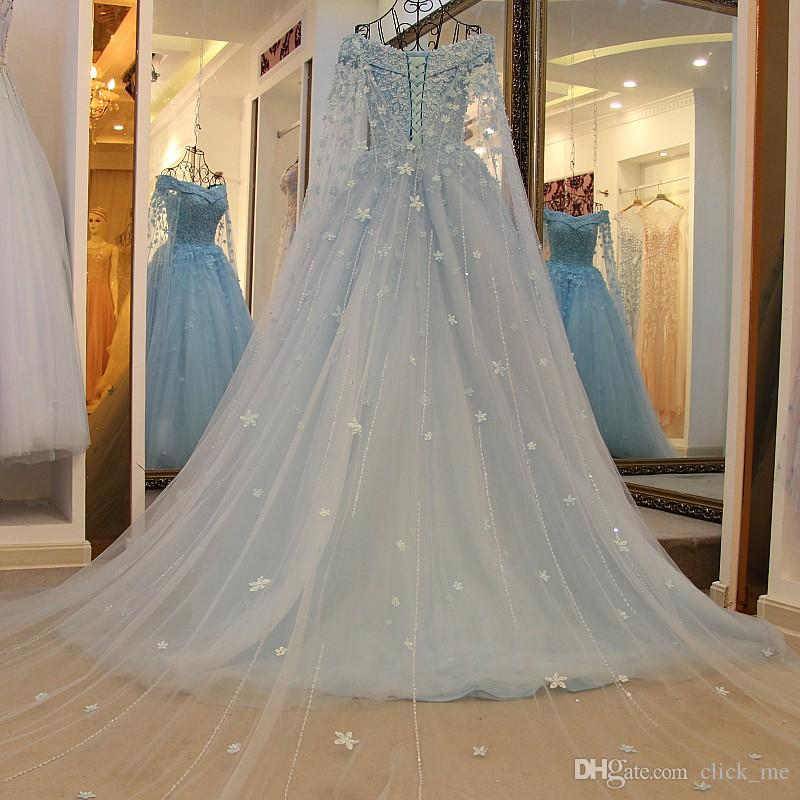 Princess Beaded Long Sleeves Prom Dresses Sexy Off The Shoulder Beads Appliques Evening Dresses Long With Wraps Lace Up Girls Pageant Dress