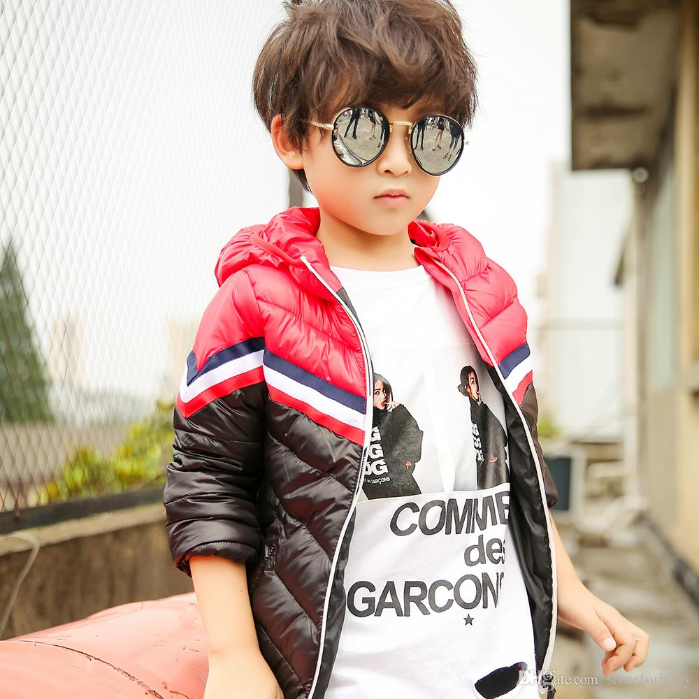 kids boy hooded down coat fashion patchwork jacket Cotton-padded parkas for children boy winter outwear tops boutique babe clothes wholesale