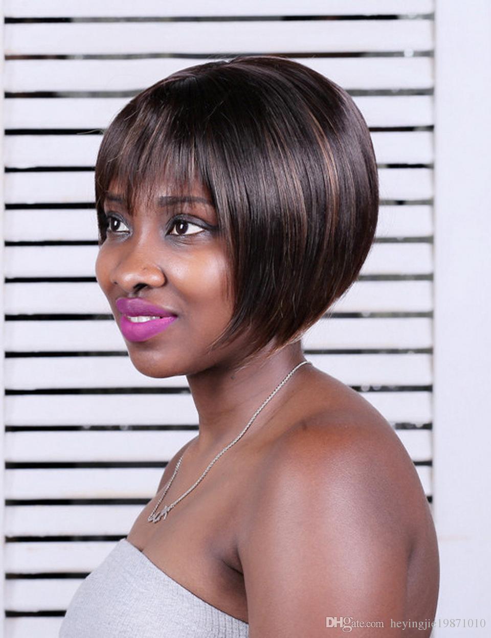 شيوى تشى مى يبرز الاصطناعية حلاقة الشعر القصير البني مع الانفجارات مستقيم الطبيعية بوب الباروكات للنساء السود حرية الملاحة