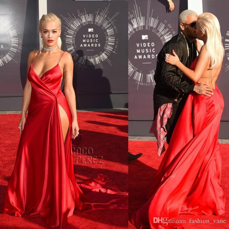 Großhandel Rita Ora Celebrity Red Carpet Kleider Sexy High Slit ...