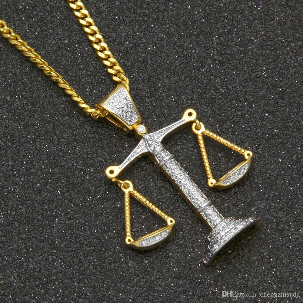 Iced Out Zirkon Balance Libra Skala Anhänger Bling Charme Weißgold Kupfer Material Mens Hip Hop Anhänger Halskette Kette