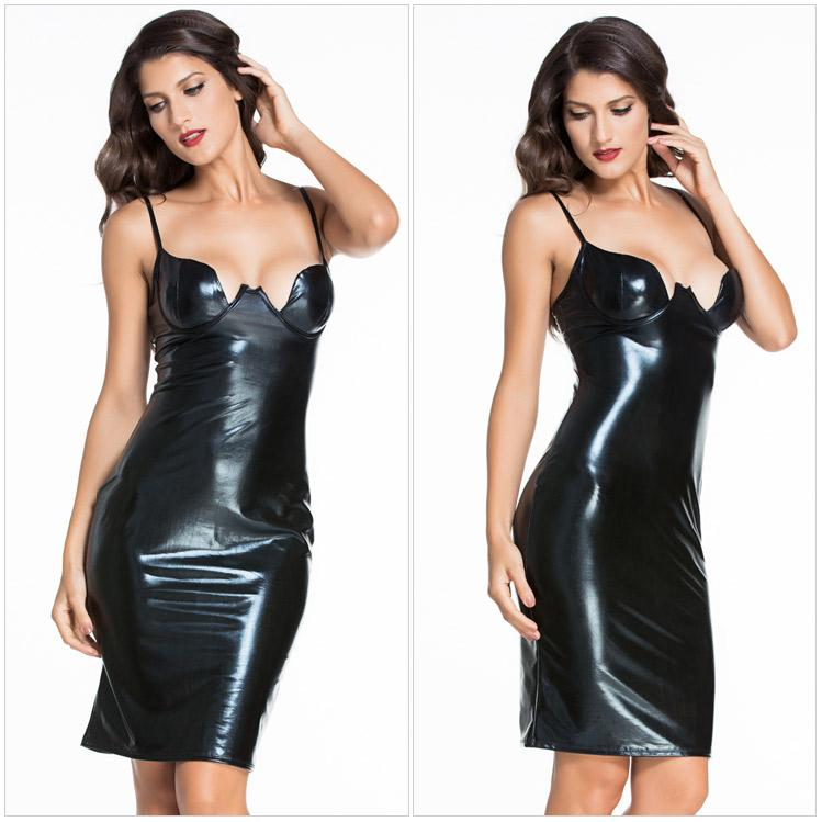 Black Bustier Spaghetti Strap PU Leather Dress Plunging Sexy Club Dresses  Summer Style Sleeveless Midi Bodycon Women Dress Deep V Neck Dress White  Dress ... 5023abe5e1dc