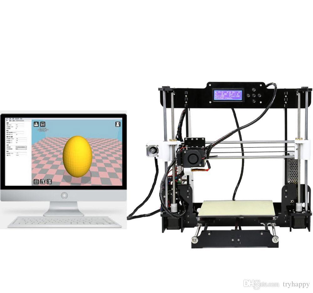 Yeni Yükseltme masaüstü 3D Yazıcı Prusa i5 Boyutu 220 * 220 * 240mm Akrilik Çerçeve LCD 1.5Kg Filament 16G TF Kart hediye için büyük ana kurulu 3D yazıcılar