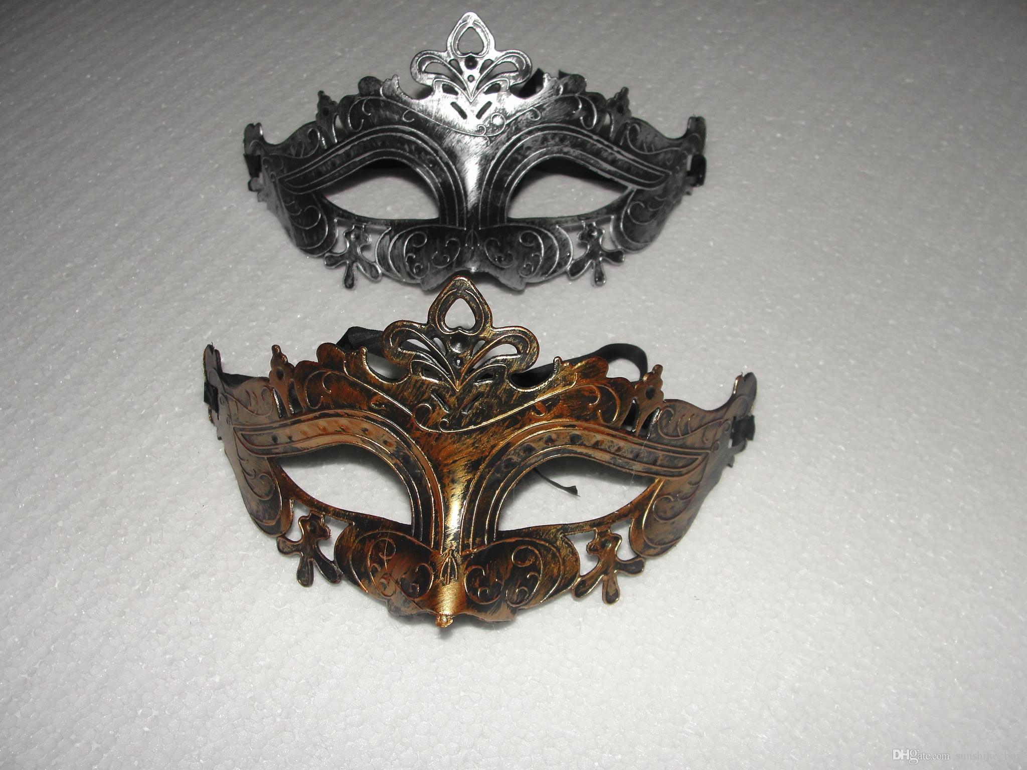 Maschera Mens greco retrò Mardi Gras Mascherata Gladiator Maschera d'oro / argento d'argento Maschera di carnevale d'argento
