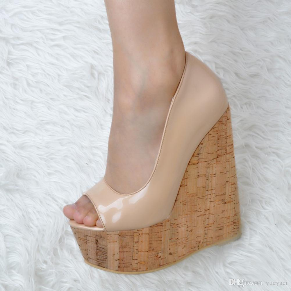 Zandina Whole Sale Womens Moda Handmade 15 centímetros Peep-toe Wadge Heel Partido Prom Sandálias Bege MYXD033
