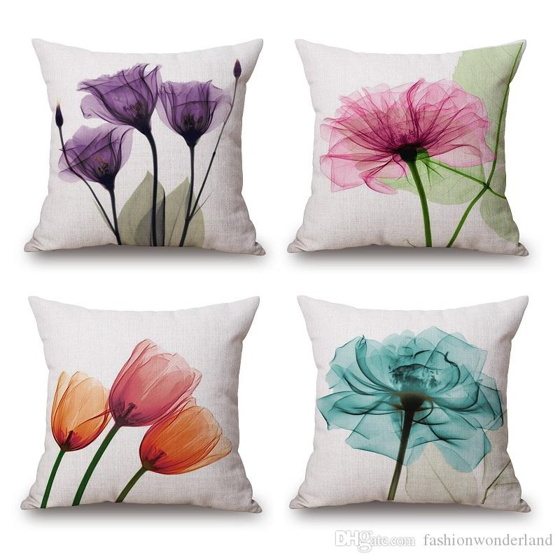 Flower Cushion Cover Watercolor Tulip Peach Fl Birds Thick Linen Cotton Pillow 16 Styles 45x45cm Bedroom Sofa Decoration Covers