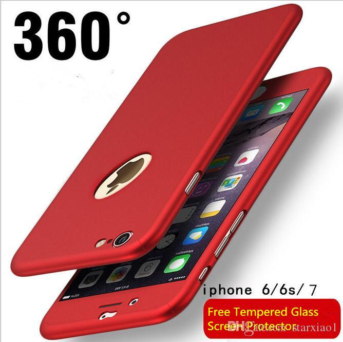 cee9194ed1375 360 Degree Protective Case For IPhone X XS MAX XR 6 6S 7 8 Plus Free Tempered  Glass Front Back Cover Full Body Coverage Protection Shells Leather Phone  Case ...