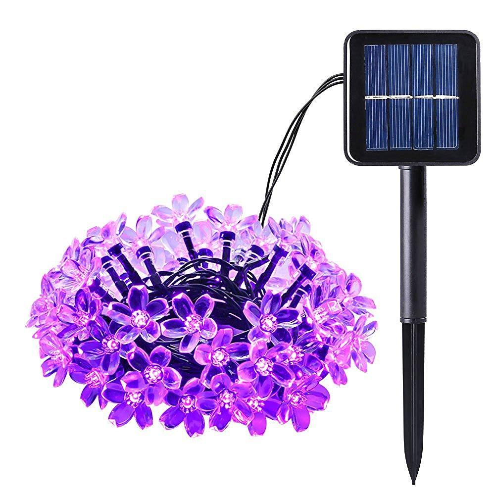 2018 wholesale solar outdoor string lights 21ft 50 led purple blossom christmas lights for home bedroomgardenwalkway long working time light from samanthe