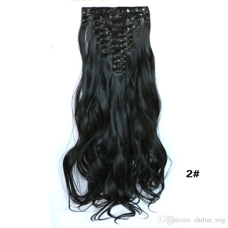 Z&F High Quality 55CM Long Clip In Hair Extensions 150g Synthetic Hair Curly Thick For Full Head