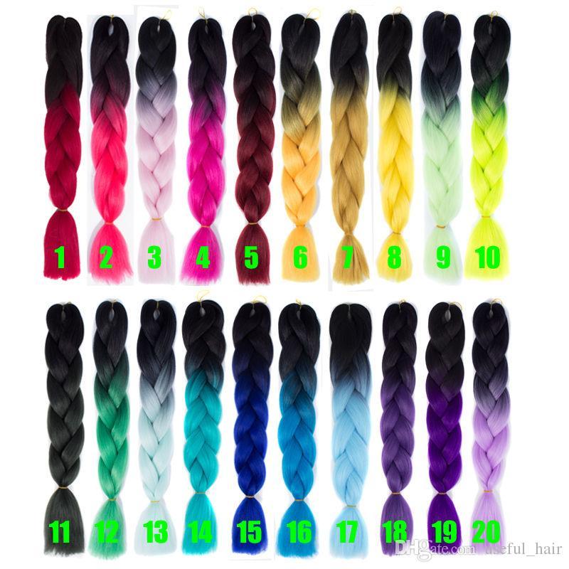옴브 그레이 점보 꼰 머리 합성 두 톤 머리 색상 블랙 브라운 점보 머리 색 벌크 확장 cheveux 24inch ombre 상자 머리 껍질 머리