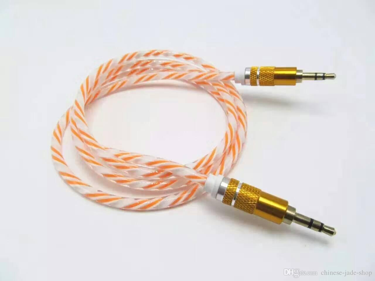 Rianbow Crystal Delicate Bold Aluminium Metalen Adapter Koord 3.5mm Stereo Audio Aux Cable 1M 3ft / .