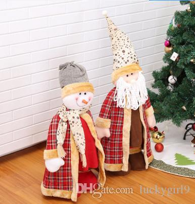 christmas decorations santa snowman ornaments store window decoration cloth can be used as a telescopic doll accessories can also put the ho top toys for