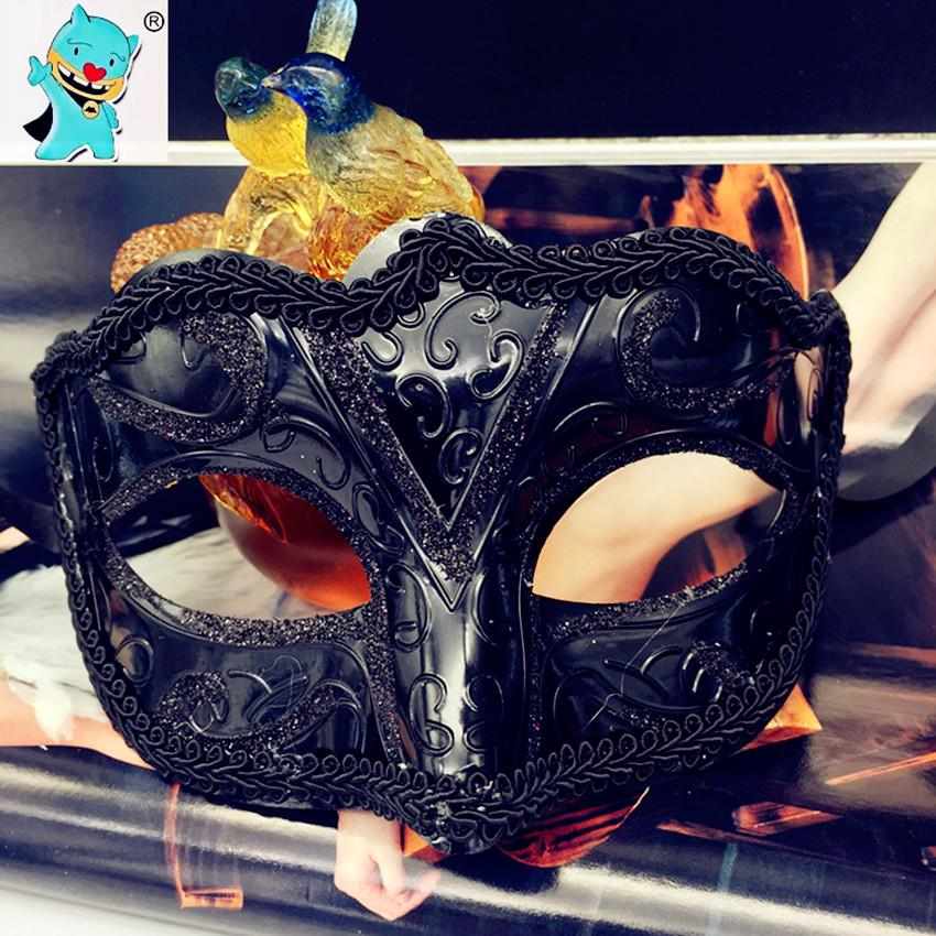 Wholesale- HOT Party Mask Female Lace Surrounding Edge Black Coloured Drawing Or Pattern Masquerade Half Face Woman Mask