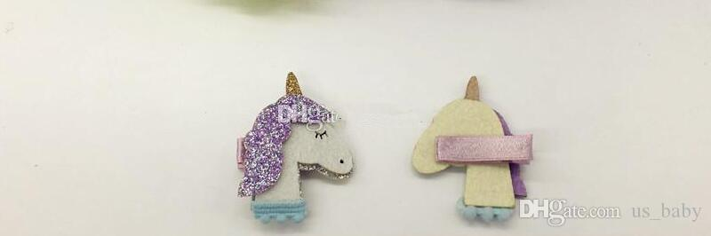 Girls Glitter Barrettes Unicorn Felt Star hair clips Baby Girl Cute Kawaii Animal Hair Clips Hair Accessories