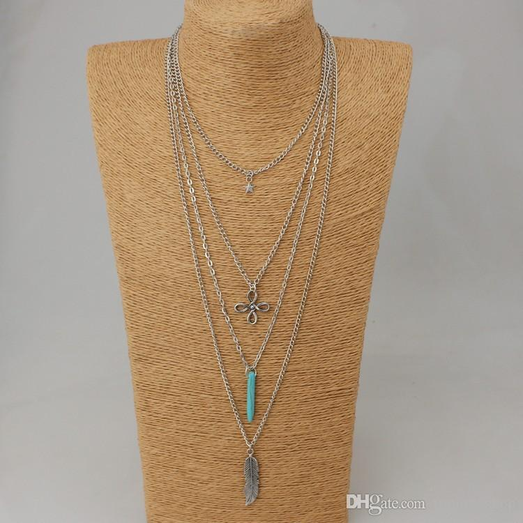 Retro turquoise Chinese knot star feather multi - layer necklace sweater chain wholesale