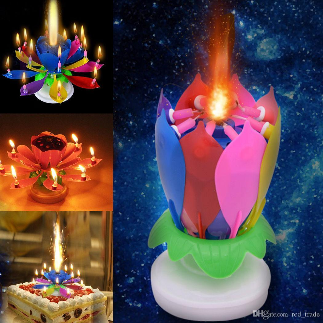 Party Birthday Music Candle Cake Topper Decoration Blossom Lotus