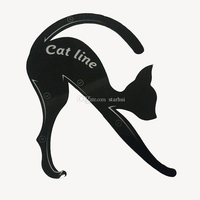 Nouveau 2 en 1 Chat Eyeliner Stencil Eye Cat Template Carte de maquillage carte facile conseils de maquillage Outils en plastique Noir En Stock WX-B08