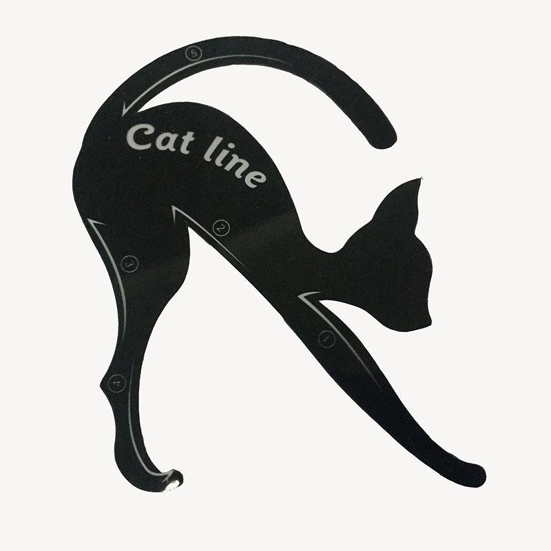 Nuevo 2 en 1 Cat Eyeliner Stencil Eye Cat Tarjeta de plantilla Tarjeta de maquillaje Fácil consejos de maquillaje Herramientas de plástico Negro En stock WX-B08