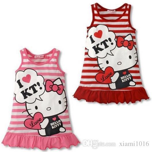 1a47886c6 2019 2017 Baby Girls Hello Kitty Dress Kids Summer Sleeveless Stripe Vest  Skirt Cotton Nightdress Cartoon Baby Clothes From Xiami1016, $6.04 |  DHgate.Com