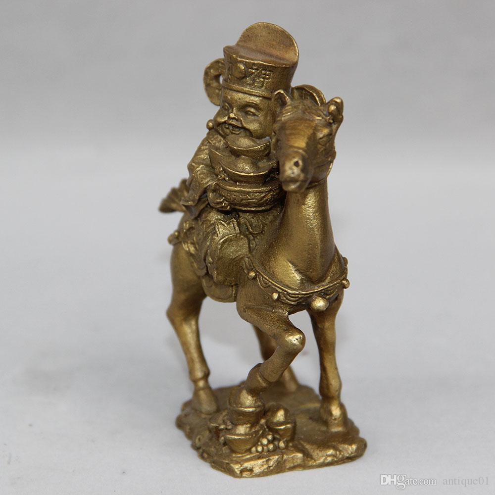 Vintage en laiton massif Bouddha Dieu de la richesse équitation cheval Sculpture Figurine Statue décoration de la maison