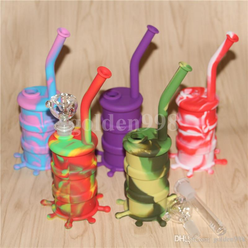wholesale Hookah Silicone Barrel Rigs Mini Silicone Rigs Dab Jar Bongs Jar Water pipe Silicon Oil Drum Rigs DHL