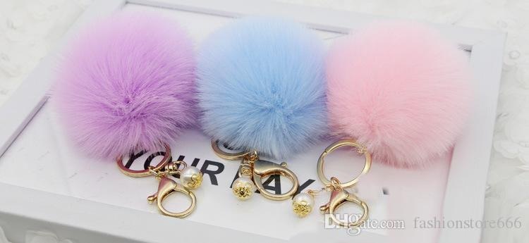 New Lanway Gold Rabbit Fur Ball Keychain fur pom pom fur keyring porte clef llaveros Pearl Key Chain For Bag Charm navidad regalos