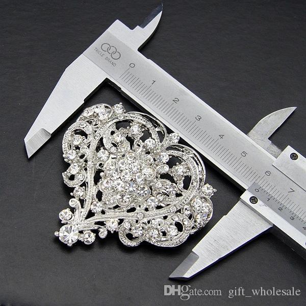 Vintage Fashion Rhodium Plated Stunning Clear Crystals Big Heart Flower Brooch Women Wedding Bridal Bouquet Pins Hot Selling Top Quality