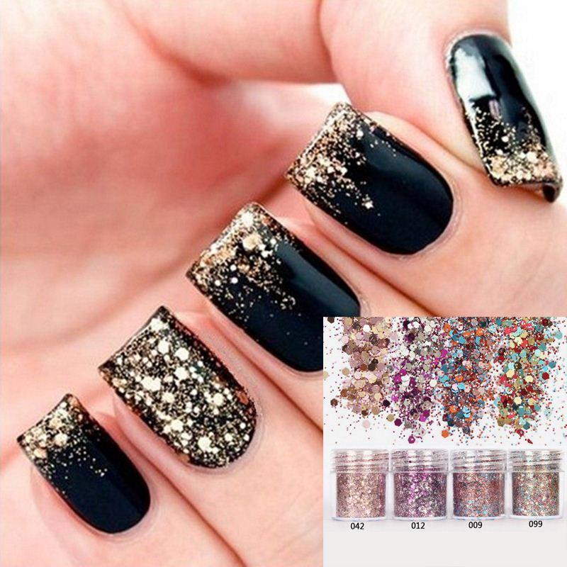 Beauty 1box Pink Rose Colorful Nail Glitter Dust Fine Mix 3d Nail ...