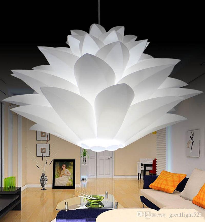 DIY Lotus Chandelier IQ Puzzle Pendant Light Decor Ceiling Light Art Lampshade White Color HighQuality
