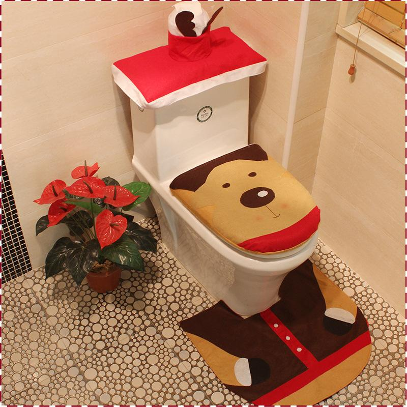 Wholesale Christmas Santa Claus Bathroom Toilet Seats Cover Decorations For Home Ornament America