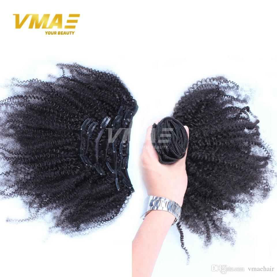 Afro Kinky Curly Clip In Hair Remy Weave Human Hair Bundles Natural