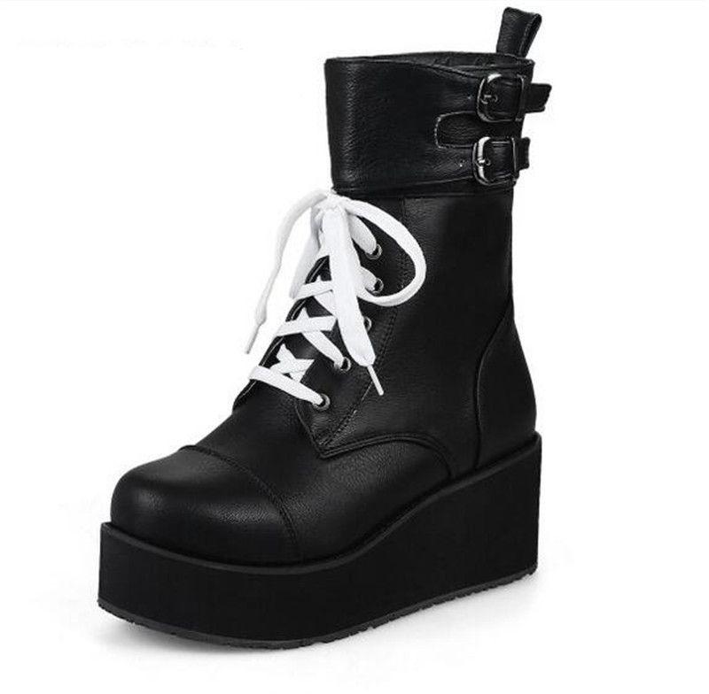 ca923e01b Compre Punk Rock Gótico Botas Mulheres Sapatos De Plataforma Creepers Cunha  Salto Alto Martin Botas Lace Up Botas Ankle Motorcyle De Onlinemall018u, ...