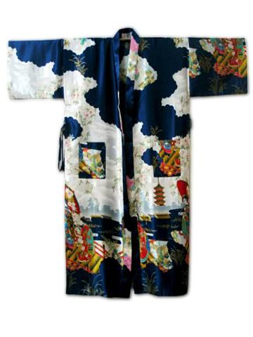 Wholesale- Navy Blue Chinese Women Traditional Silk Robe Vintage Kimono  Kaftan Bath Gown Novelty Printed Nightgown S M L XL XXL XXXL WR051 Bathrobe  Shop ... fbb5961c9