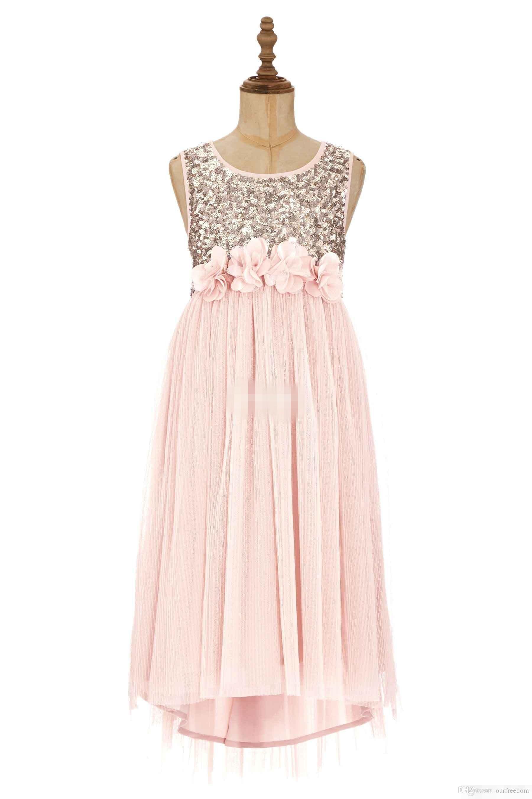 블러쉬 플라워 걸스 드레스 골드 스팽글 핸드 메이드 플라워 샷시 티셔츠 줄 보석 쥬얼리 정식 드레스 주니어 들러리 드레스