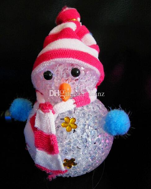 Fashion Hot Color Changing LED Snowman Christmas Decorate Mood Lamp Night Light Xmas Tree Hanging Ornament