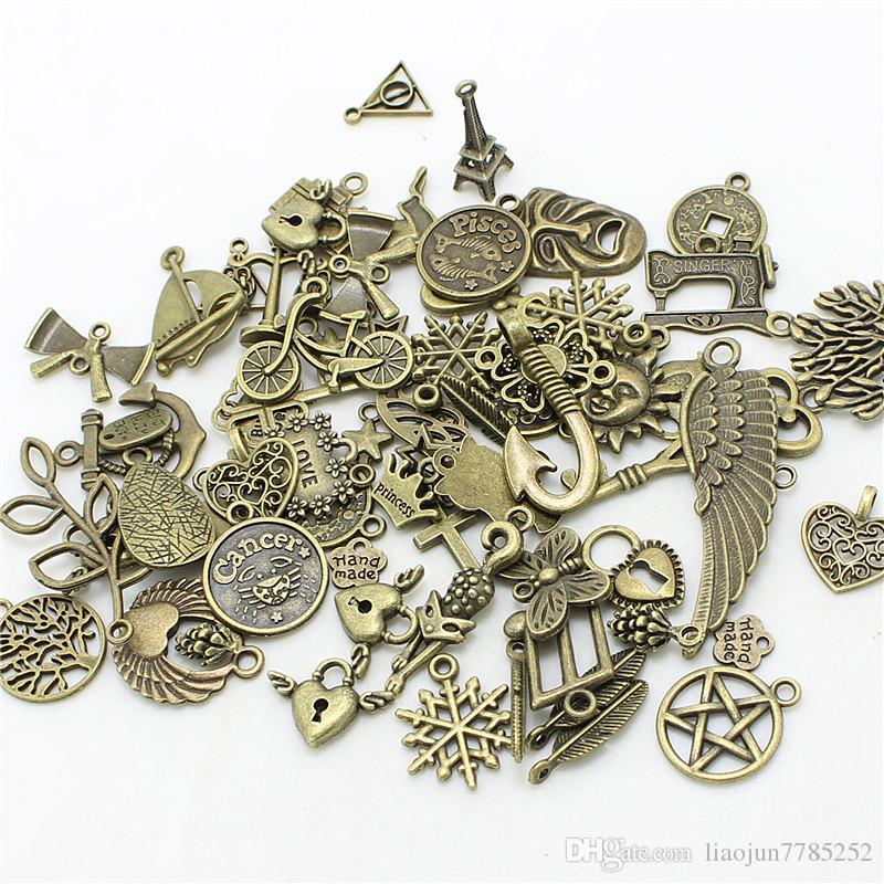 / Mélangé Quatre couleurs Plaqué Européenne Bracelets Charm Pendants Bijoux Fantaisie Décoration Bricolage Charms Handmade 715
