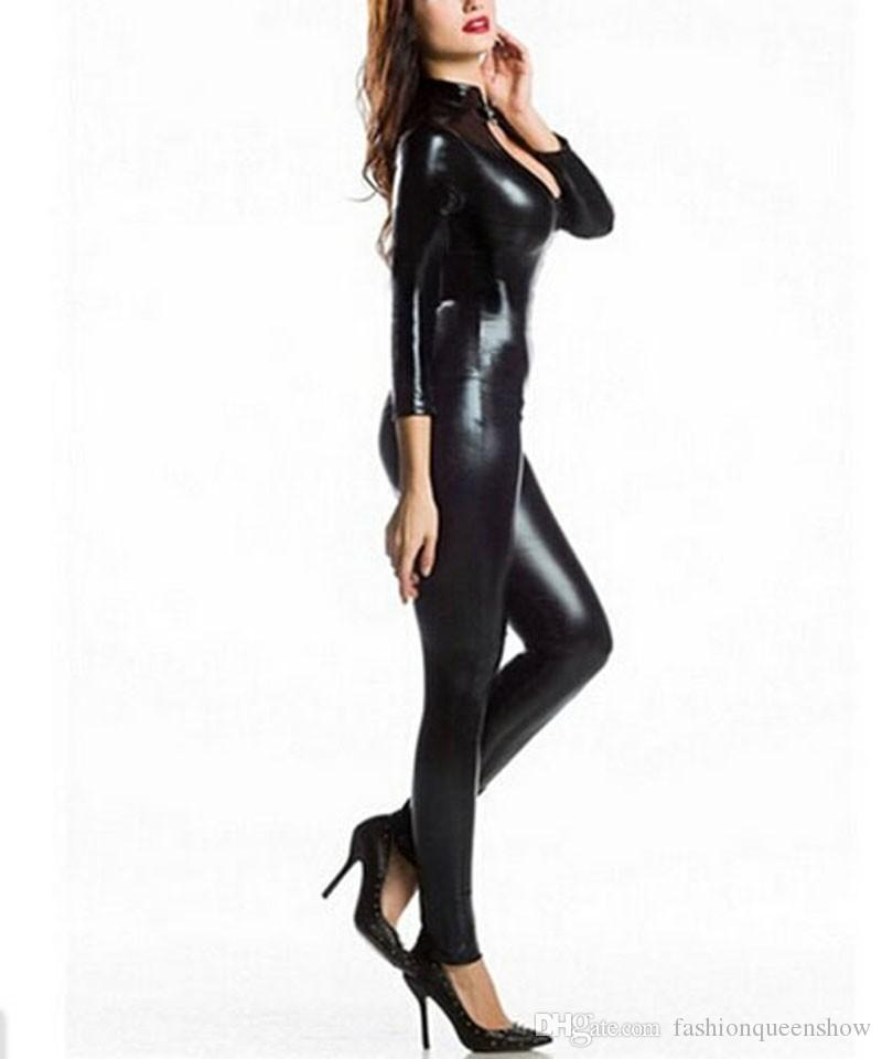 New Arrival Women Exotic Apparel Gothic Sexy Black Leatherette Jumpsuit Buckle Neck Fetish Clubwear Pole Dancing Costume S-5XL