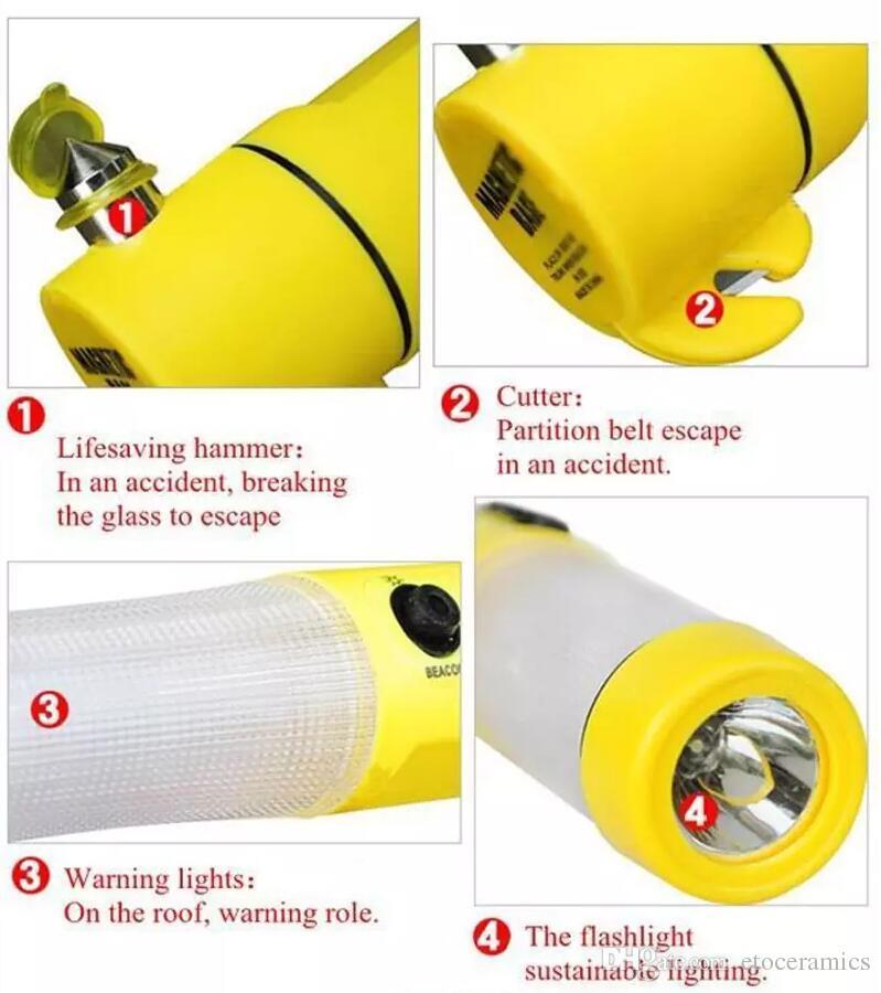 150 pçs / lote 4 em 1 Multi funcional Auto de Emergência Hammer Lanterna LED para Auto-usado, martelo de segurança
