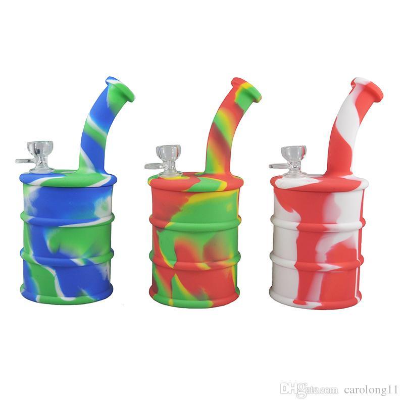9 Polegada de Silicone Bongos de Água Tubos de Óleo Shpaed Dabber Rig Herb Dabber Rig 7 Cores de Silicone Bongos de Vidro Tubo de Água Tubos De Água