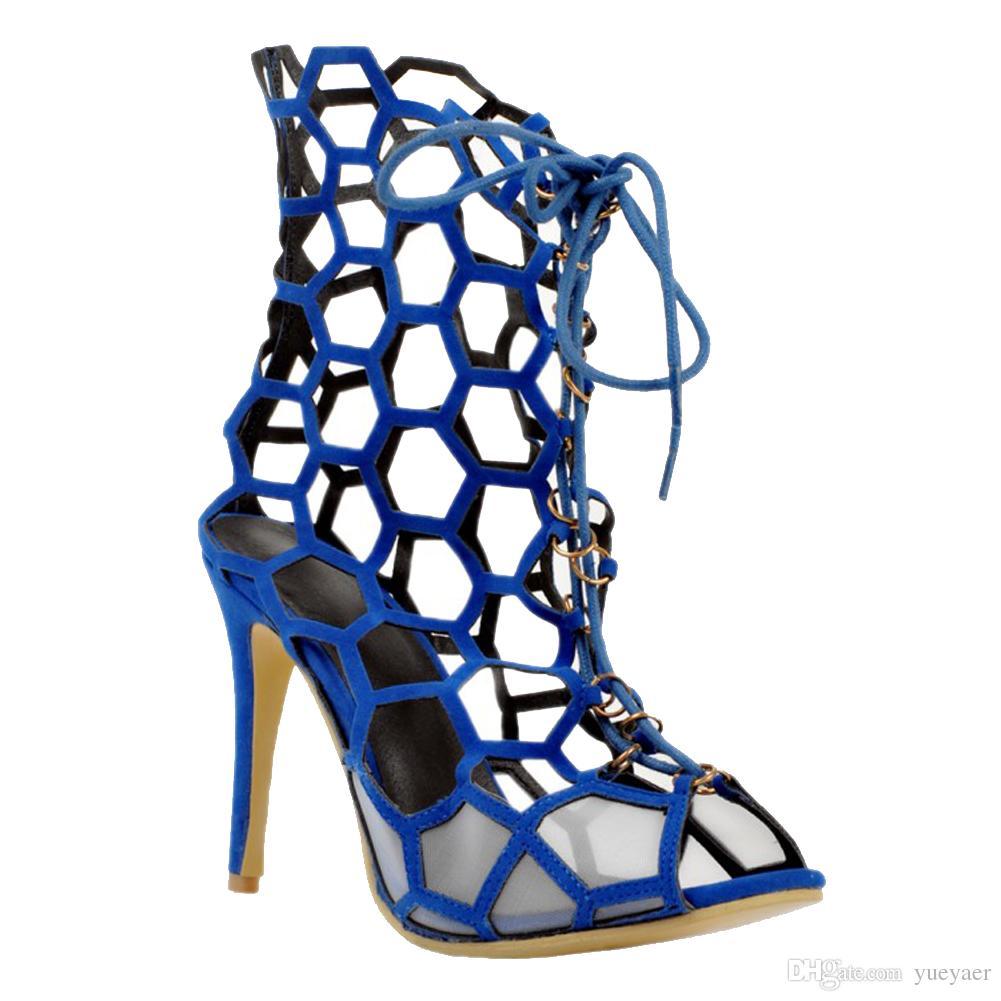 Zandina 여자 패션 손으로 만든 11cm 할로우 로마 스타일 레이스 업 여름 해변 하이힐 샌들 신발 블루 XD171