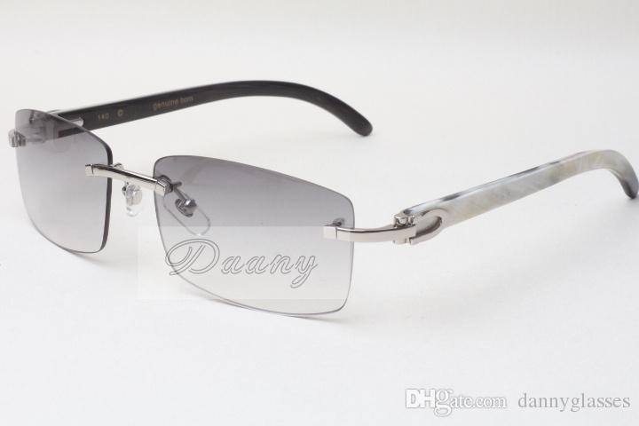 Óculos de Sol sem Frameless Hot Óculos 3524012 Mistura Natural Bun Horn Homens e Mulheres Óculos De Sol Óculos Óculos ÓculosEssessize: 56-18-140mm