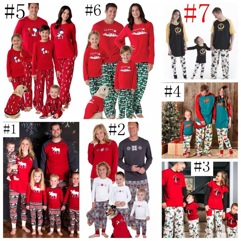 5c2448639 Christmas Kids Adult Sant Family Matching Pajamas Set Xmas Deer ...